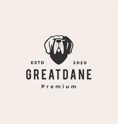 Greatdane dog hipster vintage logo icon vector