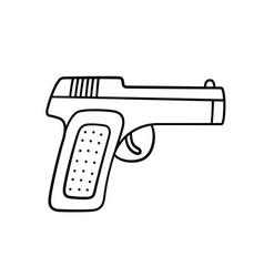 Hand drawn gun children drawing combat pistol vector