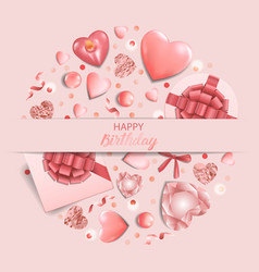 happy birthday a pink greeting square card vector image