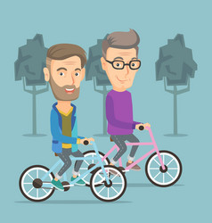 happy senior friends riding on bicycles in park vector image