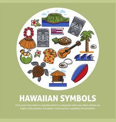 Hawaii famous sightseeing symbols and culture vector