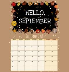 Hello september chalkboard inscription cute cozy vector
