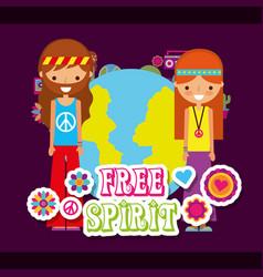 Hippie woman and man world free spirit vector