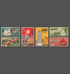 hong kong city travel retro posters vector image