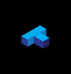 Isometric cube logo letter t vector