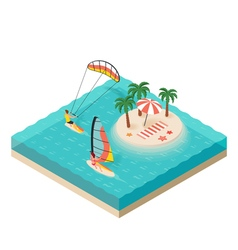 Isometric of windsurfer and kite surfer Tropical vector