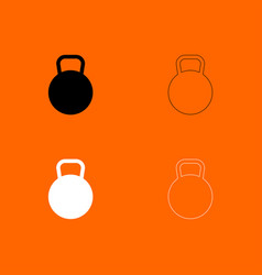Kettlebell black and white set icon vector