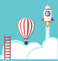 ladder balloon and rocket vector image