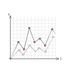 Line graph data presentation vector