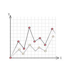 Line graph data presentation vector