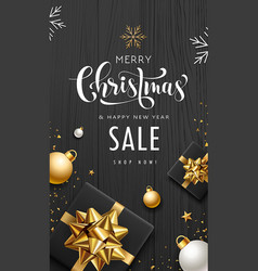 Merry christmas sale gift box golden ribbon vector