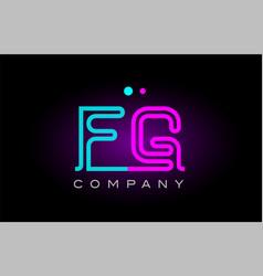 neon lights alphabet fg f g letter logo icon vector image