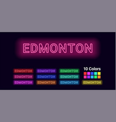 Neon name of edmonton city vector