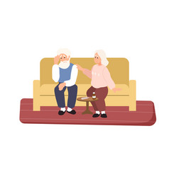 Old people illness grandfather and grandmother vector