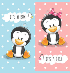 Penguins boy and girl vector