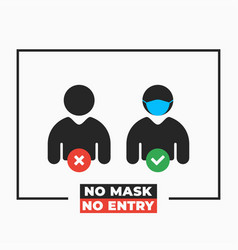 people with and without mask no mask no entry vector image