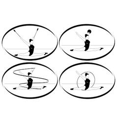 Rhythmic gymnastics Ribbon ball hoop mace vector image