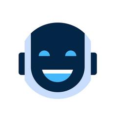 Robot face icon smiling face laugh emotion robotic vector