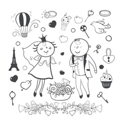 Romantic wedding collection vector image