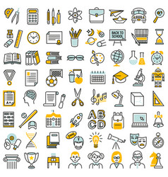 School education icon set vector