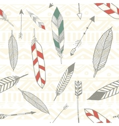 seamless tribal pattern with feather and arrows vector image