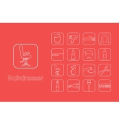Set of hairdresser simple icons vector image