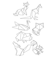 Set of polygonal contour animals vector