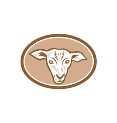 Sheep head oval cartoon vector
