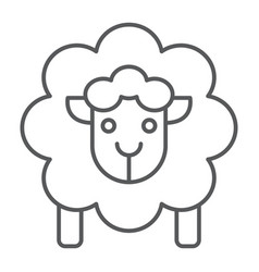 sheep thin line icon wool and animal lamb sign vector image