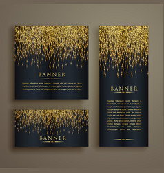 shiny golden particle style banner set vector image