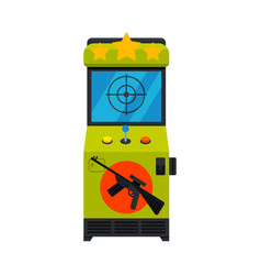 Shooting arcade game machine with rifle video vector