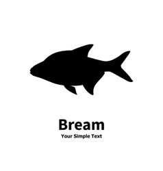 Silhouette of fish bream vector