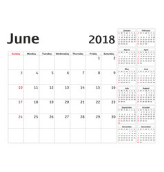 simple calendar planner for 2018 year design june vector image