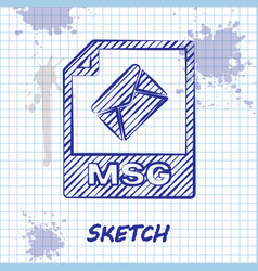 Sketch line msg file document download msg button vector