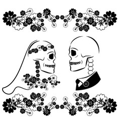Skulls wedding with flourishes vector