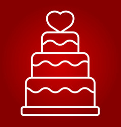 stacked love cake line icon valentines day vector image