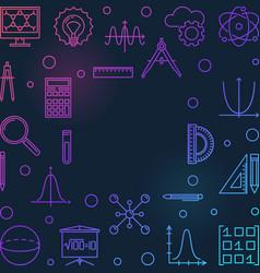 stem square colored frame - education line vector image