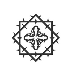 Stylized cross inside a crown thorns vector