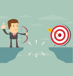 Successful businessman aiming target vector