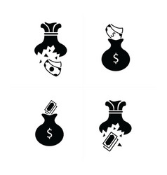 tear money bag icon design vector image