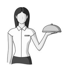 The waitressprofessions single icon in monochrome vector