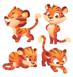 Tiger cub cute character hunting slink and roar vector