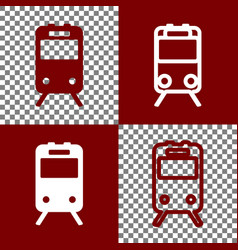 Train sign bordo and white icons and line vector