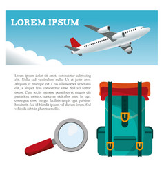 Travel airplane backpack search flyer vector