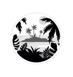 tropical scenery withisland and palm trees vector image