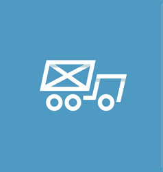 truck mail in an envelope linear style on a blue vector image
