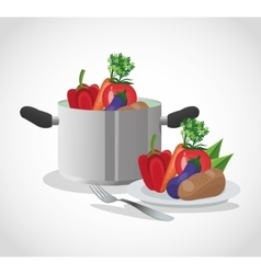 Vegetables and cooking pot design vector
