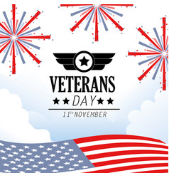 veterans day memorial celebration with fireworks vector image