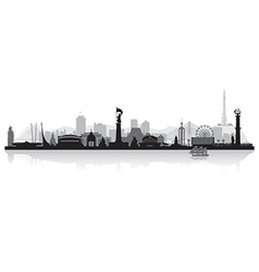 Vladivostok Russia city skyline silhouette vector image