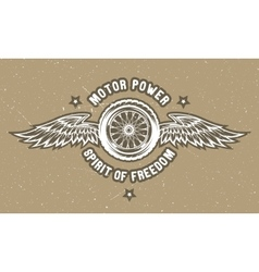 Wheel and wings The spirit of freedom vector image